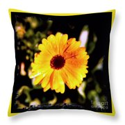 Yellow Flower With Rain Drops Throw Pillow