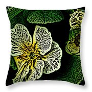 Yellow Flower Woodcut Throw Pillow