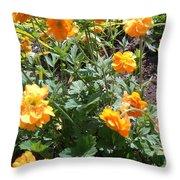 Yellow Flowers Bushes Throw Pillow