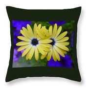 Yellow Flowers Embracing Throw Pillow