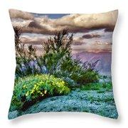 Yellow Flowers In The Desert Throw Pillow