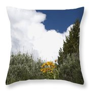Yellow Flowers White Cloud Throw Pillow