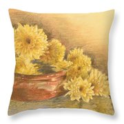 Yellow Flowers With Still Life Throw Pillow