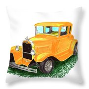 1932 Yellow Ford Hot Rod Coupe Throw Pillow