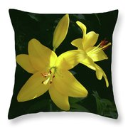Yellow Garden Lilies Throw Pillow