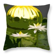 Yellow Glass With White Lilies Throw Pillow