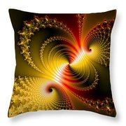 Yellow Gold Red Decorative Abstract Art Throw Pillow