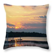 Yellow Gold Sunset Tapestry Throw Pillow
