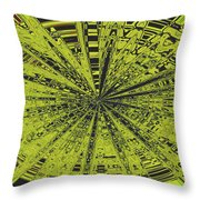 Yellow Green Black Abstract Throw Pillow