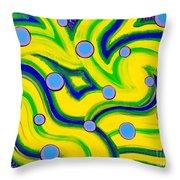 Yellow Green Blue Swirls Throw Pillow