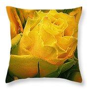 Yellow Green Rose Throw Pillow