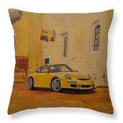 Yellow Gt3 Porsche Throw Pillow