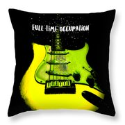 Yellow Guitar Full Time Occupation Throw Pillow