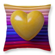 Yellow Heart On Row Of Colored Pencils Throw Pillow