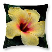 Yellow Hibicus Throw Pillow