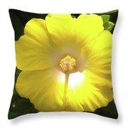 Yellow Hibiscus Throw Pillow