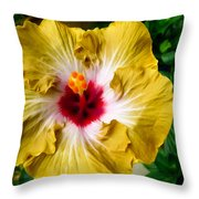 Yellow Hibiscus Flower 1 Throw Pillow