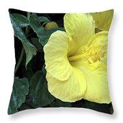 Yellow Hibiscus Watercolor Throw Pillow