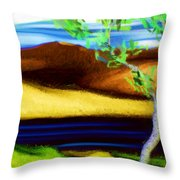 Yellow Hills Revisited Throw Pillow