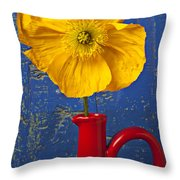 Yellow Iceland Poppy Red Pitcher Throw Pillow