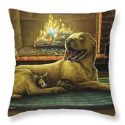 Yellow Lab With Kitten Throw Pillow