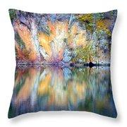 Yellow Lake Abstract Throw Pillow