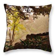 Yellow Leaves In The Mist Throw Pillow