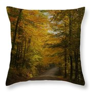 Yellow Leaves Road Throw Pillow