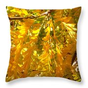 Yellow Leaves Throw Pillow