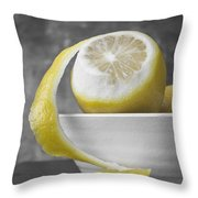 Yellow Lemons Throw Pillow