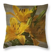 Yellow Lilies With Old Canvas Texture Background Throw Pillow