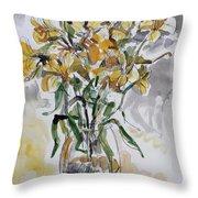 Yellow Lillies Throw Pillow
