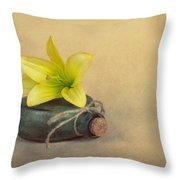 Yellow Lily And Green Bottle Throw Pillow