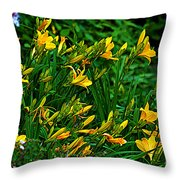 Yellow Lily Flowers Throw Pillow