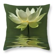 Yellow Lily With Reflections Throw Pillow