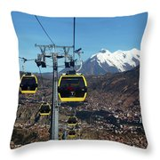 Yellow Line Cable Cars And Mt Illimani La Paz Bolivia Throw Pillow