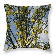 Yellow Little Flowers Throw Pillow