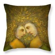 Yellow Lovers Throw Pillow