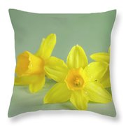 Yellow Mini Narcissus On Green 2 Throw Pillow