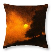 Yellow Moon Throw Pillow