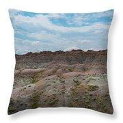 Yellow Mounds Panorama At Badlands South Dakota Throw Pillow