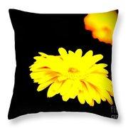 Yellow Mum On Black Backround Throw Pillow