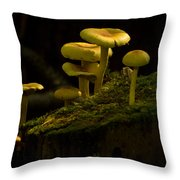 Yellow Mushrooms Throw Pillow