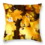 Yellow Nature Tree Leaves Art Prints Bright Baslee Troutman Throw Pillow