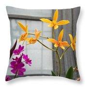 Yellow Orange And Purple Flowers Throw Pillow