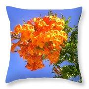 Yellow-orange Horn Flowers 01 Throw Pillow