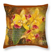 Yellow Orchids Acrylic 2 Cor 5 Throw Pillow
