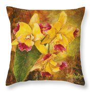 Yellow Orchids Acrylic Throw Pillow