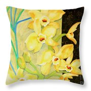 Yellow Orchids With Black Screen Throw Pillow