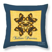Yellow Pansy Butterfly Wheel Throw Pillow